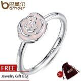 โปรโมชั่น Bamoer 2016 New 925 Sterling Silver Rose Garden Stackable Ring Pink Enamel Ring For Women Wedding Original Fine Jewelry 6 7 8 Size Pa7134 จีน