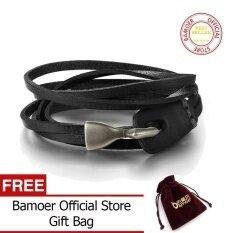 ขาย ซื้อ ออนไลน์ Bamoer Official Store New Trendy Unisex Leather Bracelet Braided Rope Chain Adjustable Black Brown Bracelets For Women Men Jewelry Pi0289 Intl
