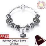 ราคา Bamoer Vintage Silver Color Snowflake Pendant High Quality Black Murano Beads Bracelets Bangles For Women Jewelry Pa3089 Intl