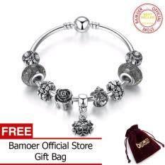 ราคา Bamoer Vintage Silver Color Snowflake Pendant High Quality Black Murano Beads Bracelets Bangles For Women Jewelry Pa3089 Intl Bamoer ใหม่