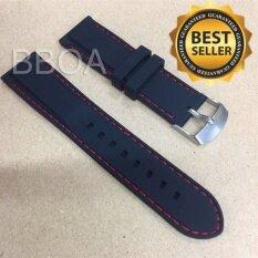 ขาย Bb Shop สายนาฬิกา ยาง ซิลิโคน Silicone ขนาด 20มิล 20Mm สีดำ เดินด้ายสีแดง Bb Shop เป็นต้นฉบับ