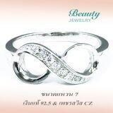 ขาย Beauty Jewelry เครื่องประดับผู้หญิง แหวนเพชร Eternity เงินแท้ 92 5 Sterling Silver ประดับเพชรสวิส Cz รุ่น Rs2055 Rr เคลือบทองคำขาว