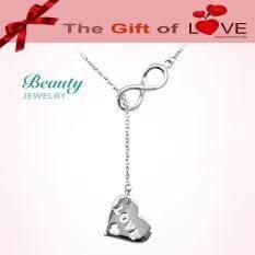 ขาย ซื้อ Beauty Jewelry เครื่องประดับผู้หญิง สร้อย Eternity With Heart รุ่น Sa1804 Rr เคลือบทองคำขาว สร้อยปรับขนาดได้ 16 หรือ 18 นิ้ว ใน กรุงเทพมหานคร