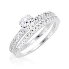 ซื้อ Beauty Jewelry เครื่องประดับผู้หญิง แหวนเพชร Forever Classic Double Ring เงินแท้ 92 5 Sterling Silver ประดับเพชรสวิส Cz รุ่น Rs2129 Rr เคลือบทองคำขาว ขนาดแหวน 5 6 และ 7 ถูก