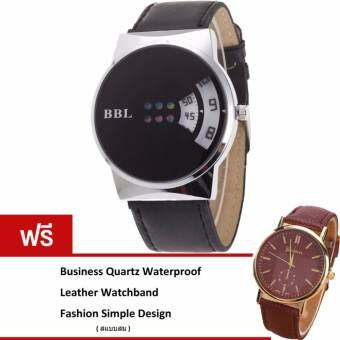 BEST Leather Band Europe Fashion Segment Digital Quartz Watch หรูหรานาฬิกาข้อมือ สายหนัง กันน้ำ รุ่น BB0006 (Black)(ฟรี Business Quartz Waterproof Leather Watchband Simple Popular Design Watch)-