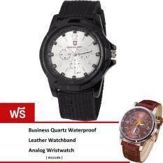 ขาย Best Military Outdoor Watch หรูหรานาฬิกาข้อมือ กันน้ำ รุ่น Bb0019 White Black ฟรี Business Quartz Waterproof Leather Watchband Analog Wristwatch ออนไลน์
