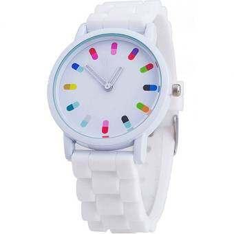 BEST นาฬิกาข้อมือผู้หญิง Silicon Fashion Women Watch - White-