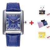 ราคา ราคาถูกที่สุด Best Quality Men S Quartz Wristwatches Fashion Calendar Luxury Brand Genuine Leather Strap Business Watch Blue Blue Intl