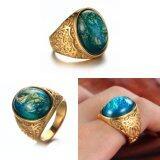 ราคา บิ๊กหินสีเขียวแหวนแต่งงานสำหรับผู้ชาย ผู้หญิงเครื่องประดับทองคำขาว นานาชาติ ถูก
