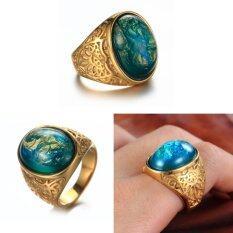 โปรโมชั่น บิ๊กหินสีเขียวแหวนแต่งงานสำหรับผู้ชาย ผู้หญิงเครื่องประดับทองคำขาว นานาชาติ Unbranded Generic