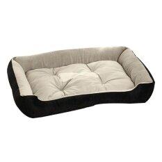 ซื้อ ขนาดใหญ่สุนัขขนาดใหญ่ที่นอนสุนัขขนแกะขนสุนัขสัตว์เลี้ยง Warm เตียงบ้าน Plush สีดำ L ออนไลน์