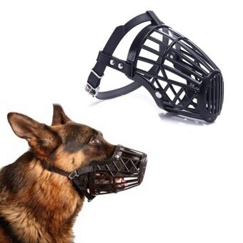 Black Adjustable Basket Mouth Muzzle Cover For Dog Training Bark Bite Chew Control Black Size 4h - intl
