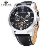 ขาย Black Forsining A165 Tourbillon Automatic Mechanical Watch For Men Leather Band Date Week Month Year Display Intl ถูก จีน