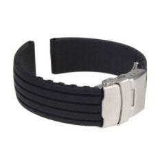 สีดำสายรัดยางซิลิโคนกันน้ำใช้เข็มขัดนาฬิกา 18มม (สีดำ).