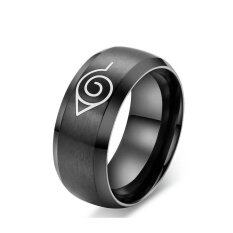 Black Titanium Steel Cartoon Naruto Mark Fire Shaped Men Rings Jewelry จีน