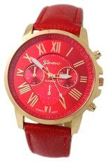 ซื้อ Bluelans® เจนีวานาฬิกาข้อมือหนังเทียมเลขโรมัน สีแดง ถูก ใน จีน