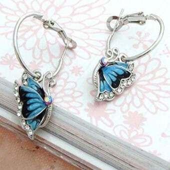 Bluelans®ผู้หญิง 1 คู่สีฟ้าคริสตัลพลอยแบบเคลือบผีเสื้อ Dangle ต่างหูห่วง Earbob - INTL-
