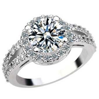 Bluelans Zirconia อัญมณีฝังแหวนเงินชุบงานแต่งงานเครื่องประดับนิ้วมือ-