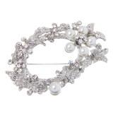 ขาย Bolehdeals Leaf Crystal Rhinestone Pearls Flowers Brooches Pins Scarf Buckles Silver Intl ออนไลน์