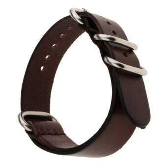 BolehDeals สไตล์นาโตชายนาฬิกาข้อมือหนังแท้ทำด้วยมือสายนาฬิกาข้อมือ 18 มิลลิเมตร-นานาชาติ