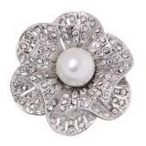 Bolehdeals Retro Vintage Diamante Flower Crystal Rhinestone Pearl Brooches Pins Silver Intl เป็นต้นฉบับ