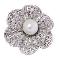 ขาย Bolehdeals Retro Vintage Diamante Flower Crystal Rhinestone Pearl Brooches Pins Silver Intl ออนไลน์