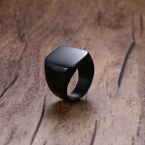 ราคา Bolehdeals Solid Polished Stainless Steel Band Biker Men Signet Ring Black Us 7 Intl ใน จีน