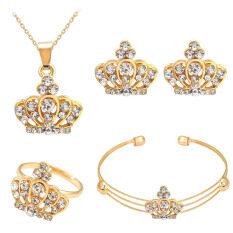 ขาย Bolehdealsnผู้หญิงสร้อยข้อมือสร้อยคอพลอยงานแต่งงานแหวนต่างหูมงกุฏชุดทอง ออนไลน์ จีน