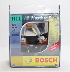 ขาย Bosch หลอดไฟหน้ารถยนต์ H11 55W รุ่น All Weather Plus สำหรับหลอดไฟหน้า และ ไฟตัดหมอก Bosch เป็นต้นฉบับ