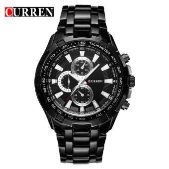สีดำหรูนาฬิกาแบรนด์ Bounabay นาฬิกาบุรุษเหล็กควอตซ์แฟชั่นทหารลำลองกีฬาชายนาฬิกานาฬิกาข้อมือ 8023 - นานาชาติ