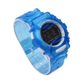 Boys Girls Children Students Waterproof Digital Wrist Sport Watch Blue - intl