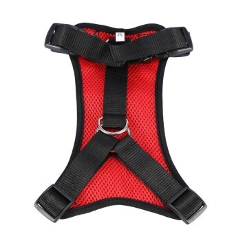 Breathable Adjustable Nylon Dog Pet Seat Belt Car Harness Walking Vest M (Red) - intl