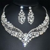 Bridal Wedding Party Gift Transparent Clear Rhinestone Necklace Earrings One Set Intl เป็นต้นฉบับ
