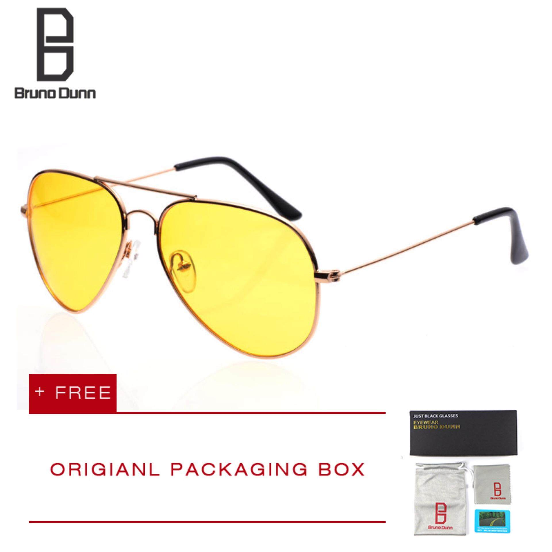 Bruno Dunn night vision men women sunglasses polarized fishing driving Eyewear sun glasses 3025 (gold frame )