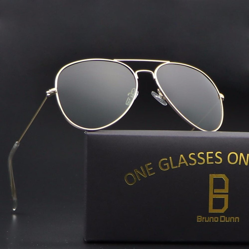 bruno dunn classic 2018 retro women men polarized aviation 3025 sunglasses vintage sun glasses for male female ladies girls (black frame grey lense)