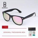 ราคา Bruno Dunn ผู้หญิงผู้ชายแว่นตากันแดด Polarized เลนส์โบราณกระจกรูปไข่ Steampunk แบรนด์ออกแบบขับรถ แว่นตา 54Mm 2140 Black Frame Pink Lense Intl ใหม่