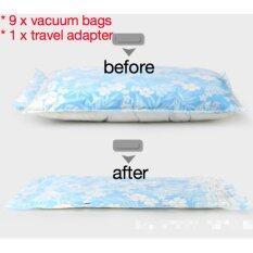 ขาย ซื้อ ออนไลน์ Bundle Deal Free Travel Adapter 8Pcs Roll Up Vacuum Seal Compression Storage Bags Blue Intl