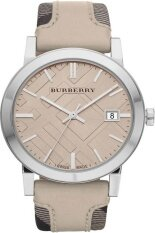 ราคา Burberry Bu9021 Women S Large Check Tan Leather And Canvas Strap Cream Dial Watch ใหม่ ถูก