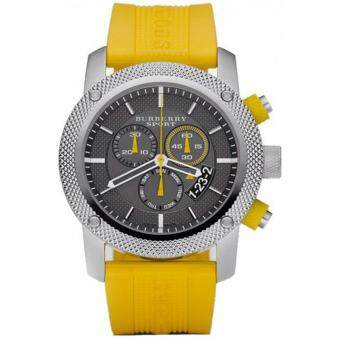 Burberry Sport Chronograph Grey Dial Yellow Rubber Mens Watch BU7712