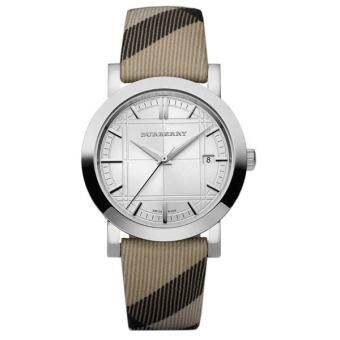 Burberry Women's BU1390 Check Engraved White Dial Check Strap Watch