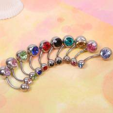 ราคา Buyincoins 10Pcs Rhinestone Ball Navel Belly Button Bar Ring Body Jewelry Piercing ที่สุด