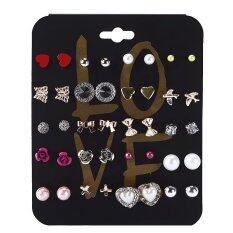 Buyincoins 20 คู่/เซ็ตแผ่นหู Stud ดอกไม้คริสตัลไข่มุกรูปหัวใจสำหรับความรักเครื่องประดับสตรีตุ้มหู Multicolor - Intl.
