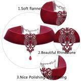 ส่วนลด สินค้า Buyincoins New Velvet Choker Collar Crystal Rhinestone Pendant Chain Necklace Women Wedding Jewelry Red Intl