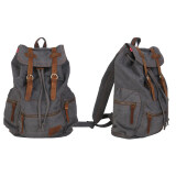 ขาย Canvas Leather Satchel Sch**l Military Shoulder Bag Backpack Grey ออนไลน์