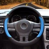 ราคา Car Steering Wheel Cover Diameter 15 Inch Pu Leather For Full Seasons Black And Blue Size L Intl