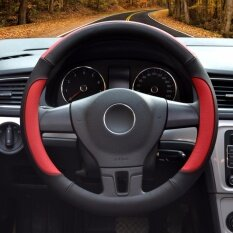 Car Steering Wheel Cover Diameter 15 Inch Pu Leather For Full Seasons Black And Red Size L Intl เป็นต้นฉบับ
