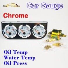 Car Triple Guage Kit 52Mm 2 Oil Temp Water Temperature Oil Press Gauges Chrome Bezel 3 In 1 Car Meters Dashboard Intl ถูก