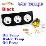 ขาย ซื้อ ออนไลน์ Car Triple Guage Kit 52 มิลลิเมตร 2 อุณหภูมิน้ำมัน เครื่องวัดอุณหภูมิน้ำ น้ำมัน กดมาตรวัดสีดำ Bezel 3 In 1 Car เมตรแดชบอร์ด