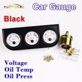 Car Triple Guage Kit 52Mm 2 Voltage Oil Temperature Oil Press Gauges Black Bezel 3 In 1 Car Meters Dashboard Intl ถูก
