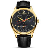 ขาย Carnival Mens Dual Time Zone Display Multifunction Leather Watchband Automatic Mecahanical Watch Gold Bezel Black Dial Intl Carnival ถูก
